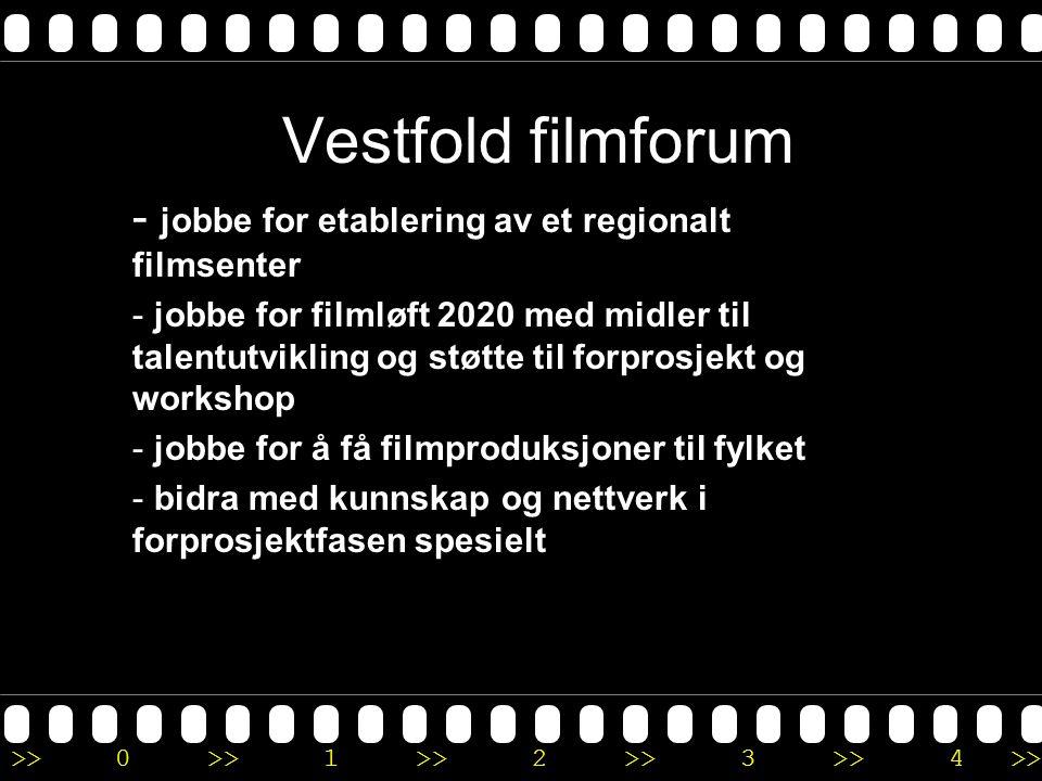>>0 >>1 >> 2 >> 3 >> 4 >> Vestfold filmforum - jobbe for etablering av et regionalt filmsenter - jobbe for filmløft 2020 med midler til talentutvikling og støtte til forprosjekt og workshop - jobbe for å få filmproduksjoner til fylket - bidra med kunnskap og nettverk i forprosjektfasen spesielt