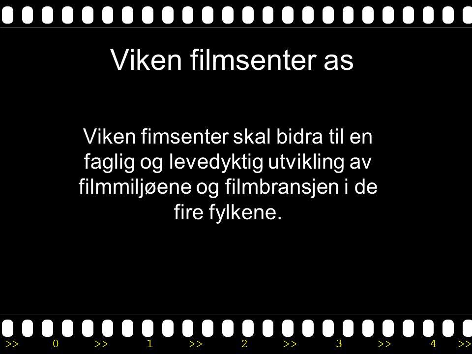 >>0 >>1 >> 2 >> 3 >> 4 >> Viken filmsenter AS Senteret skal arbeide for å styrke interessen for og kunnskapen om kort-, dokumentar- og animasjonsfilm, samt annen audiovisuell produksjon som kunstnerisk uttrykksform.