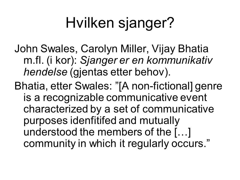Hvilken sjanger. John Swales, Carolyn Miller, Vijay Bhatia m.fl.