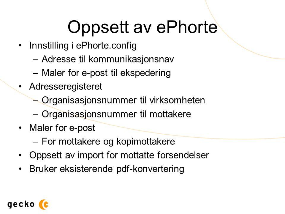 Oppsett av ePhorte Innstilling i ePhorte.config –Adresse til kommunikasjonsnav –Maler for e-post til ekspedering Adresseregisteret –Organisasjonsnumme