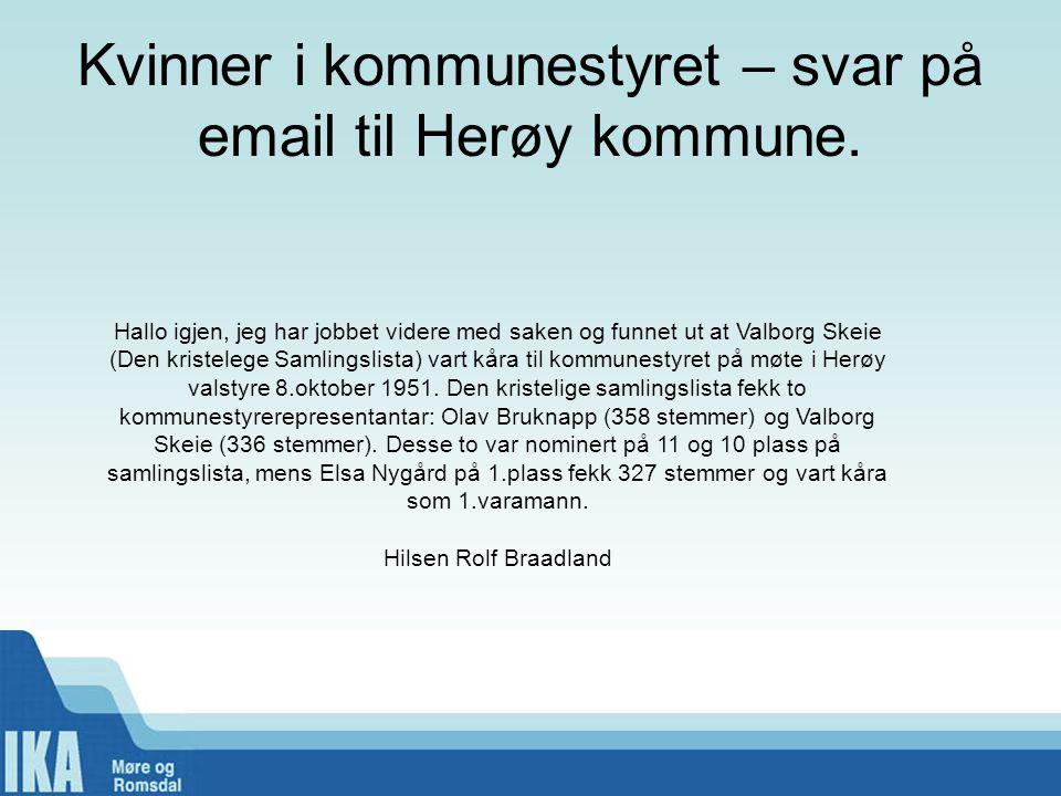Kvinner i kommunestyret – svar på email til Herøy kommune.