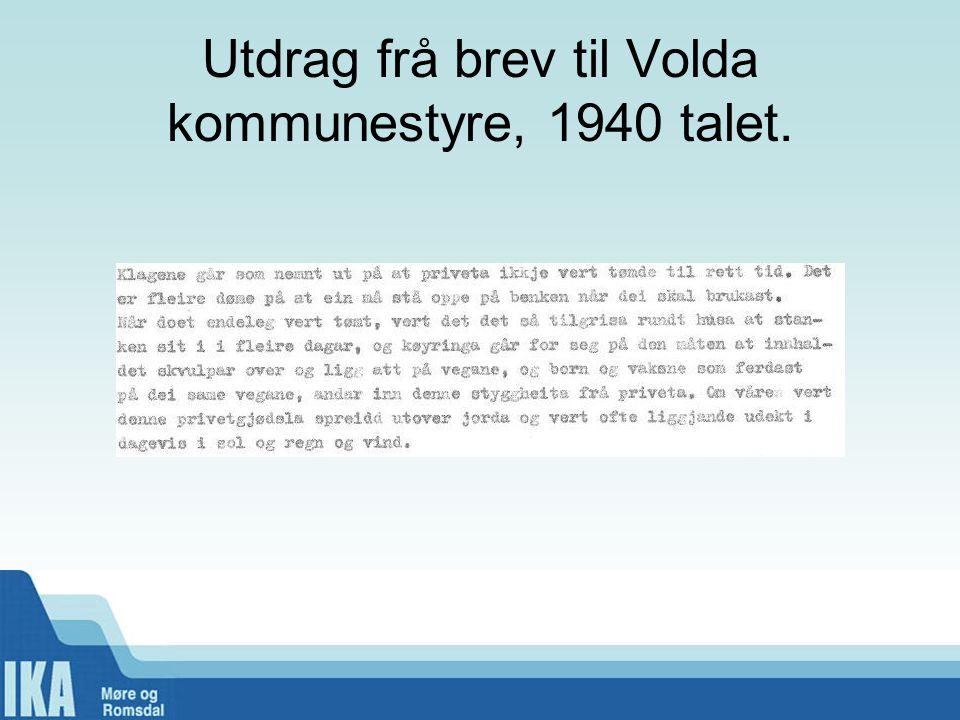 Utdrag frå brev til Volda kommunestyre, 1940 talet.