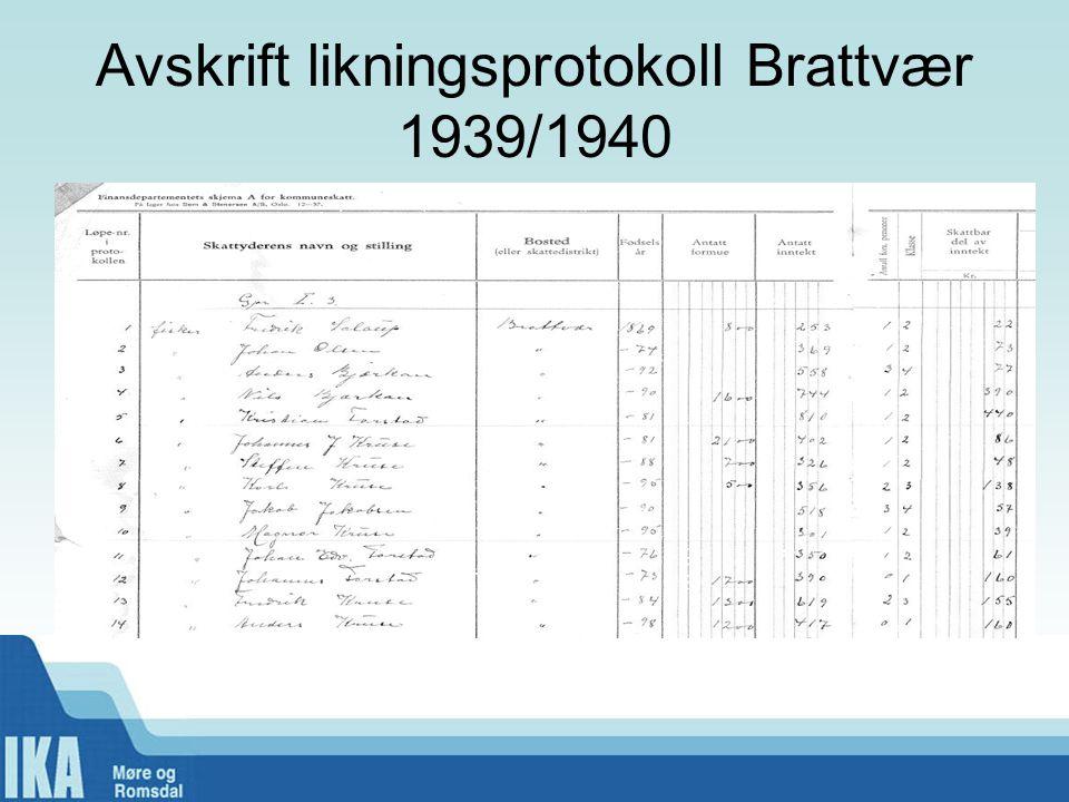 Avskrift likningsprotokoll Brattvær 1939/1940