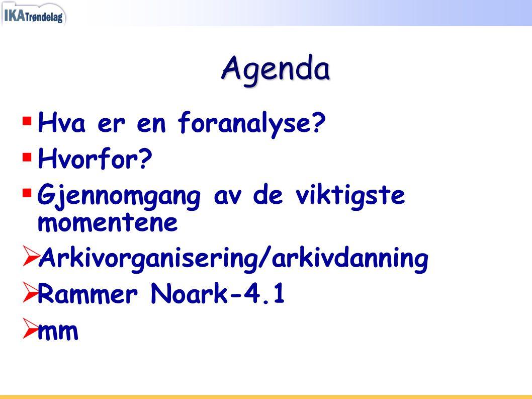 Agenda  Hva er en foranalyse?  Hvorfor?  Gjennomgang av de viktigste momentene  Arkivorganisering/arkivdanning  Rammer Noark-4.1  mm