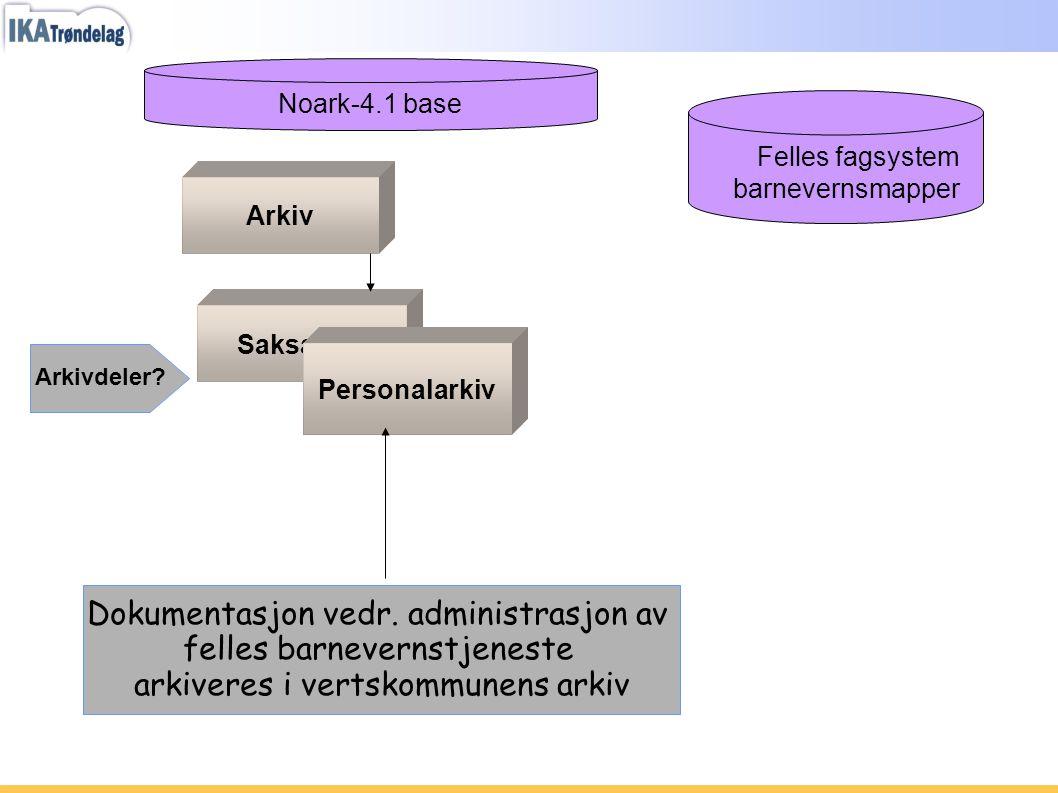 Dokumentasjon vedr. administrasjon av felles barnevernstjeneste arkiveres i vertskommunens arkiv Felles fagsystem barnevernsmapper Noark-4.1 base Arki