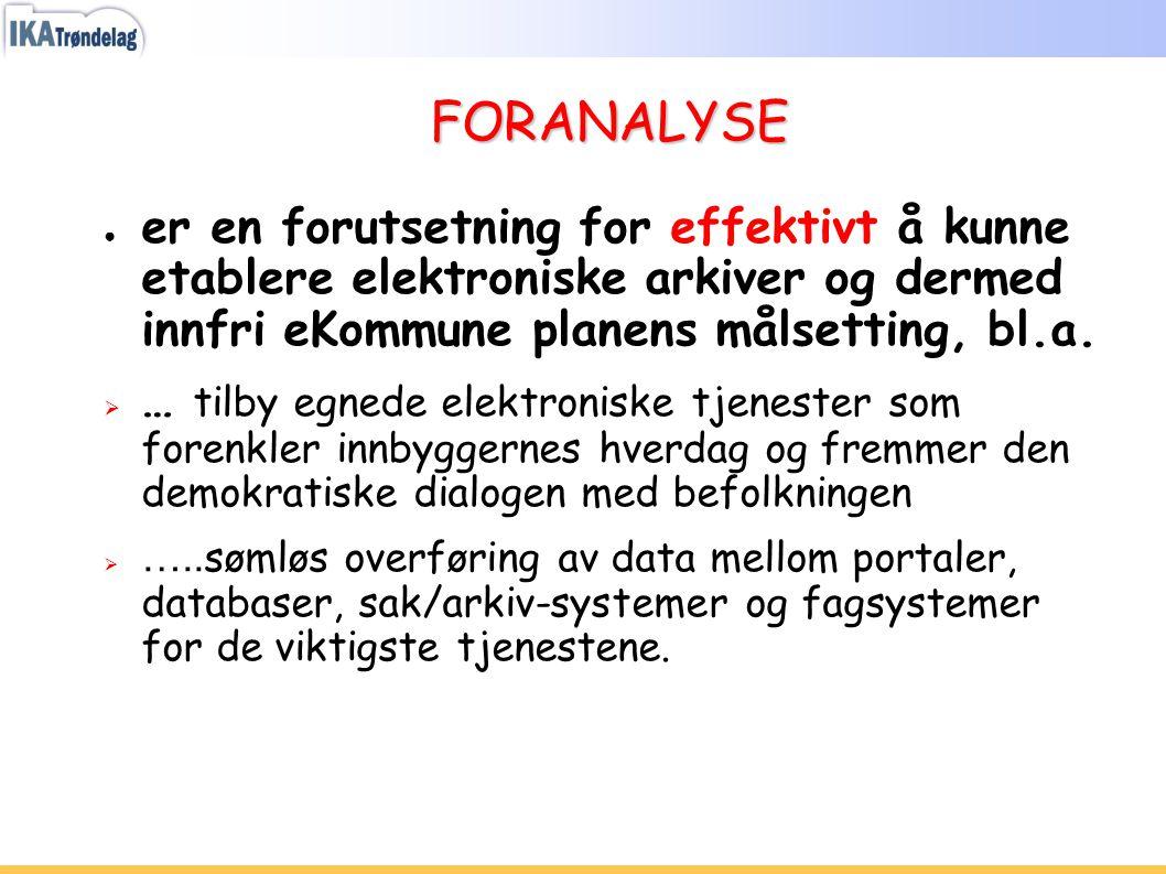 FORANALYSE ● er en forutsetning for effektivt å kunne etablere elektroniske arkiver og dermed innfri eKommune planens målsetting, bl.a.  … tilby egne