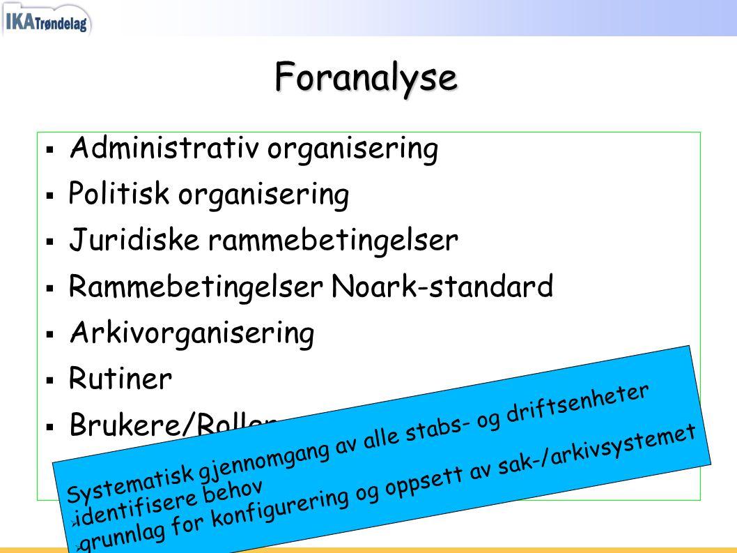 Foranalyse  Administrativ organisering  Politisk organisering  Juridiske rammebetingelser  Rammebetingelser Noark-standard  Arkivorganisering  R