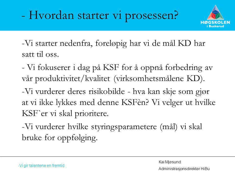 - Hvordan starter vi prosessen? -Vi starter nedenfra, foreløpig har vi de mål KD har satt til oss. - Vi fokuserer i dag på KSF for å oppnå forbedring