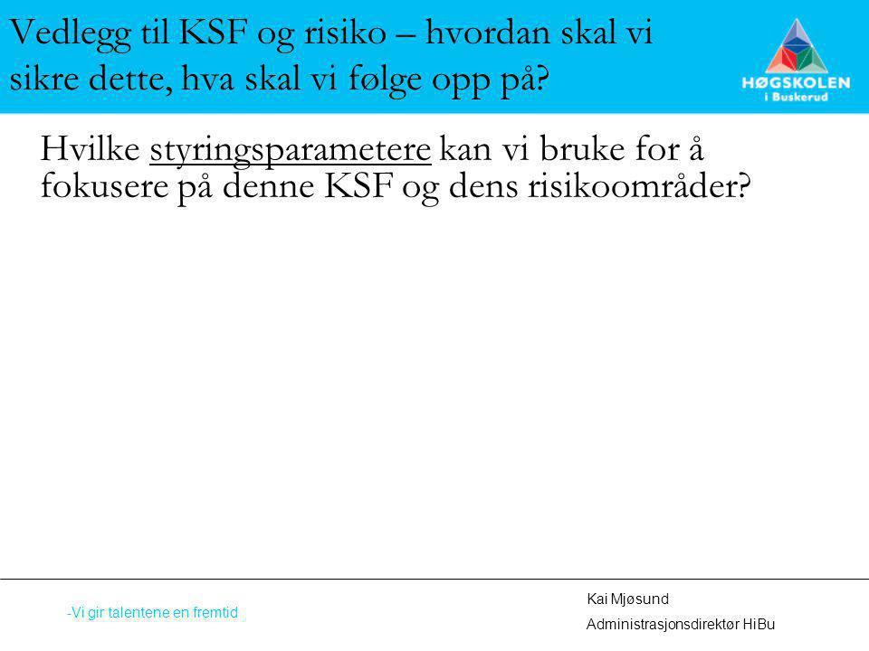 Vedlegg til KSF og risiko – hvordan skal vi sikre dette, hva skal vi følge opp på? Hvilke styringsparametere kan vi bruke for å fokusere på denne KSF