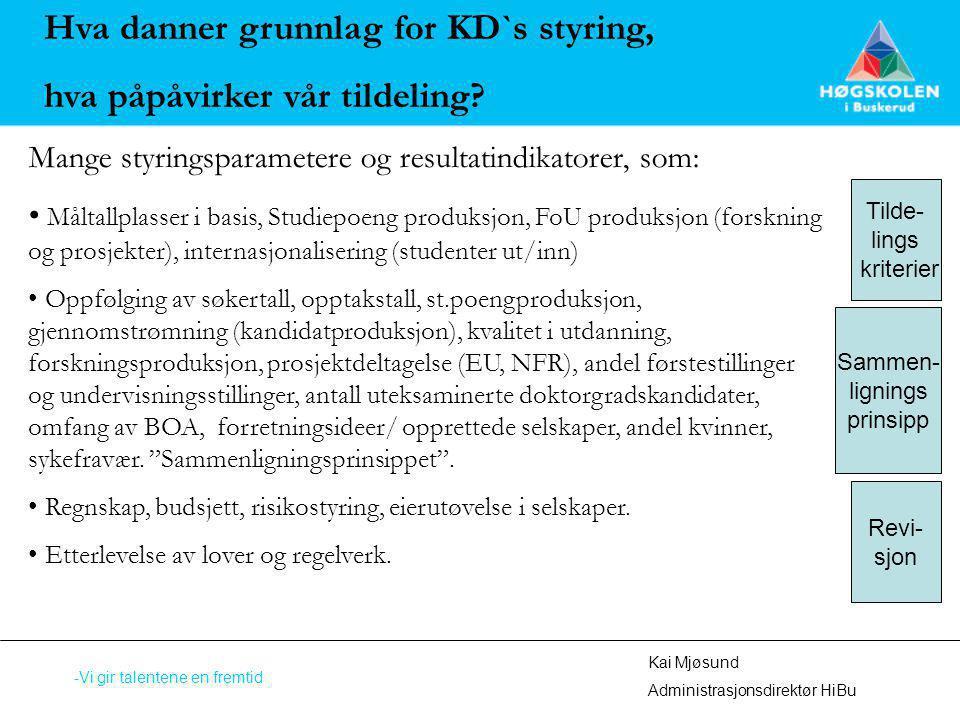 Kai Mjøsund Administrasjonsdirektør HiBu -Vi gir talentene en fremtid Hva danner grunnlag for KD`s styring, hva påpåvirker vår tildeling? Mange styrin
