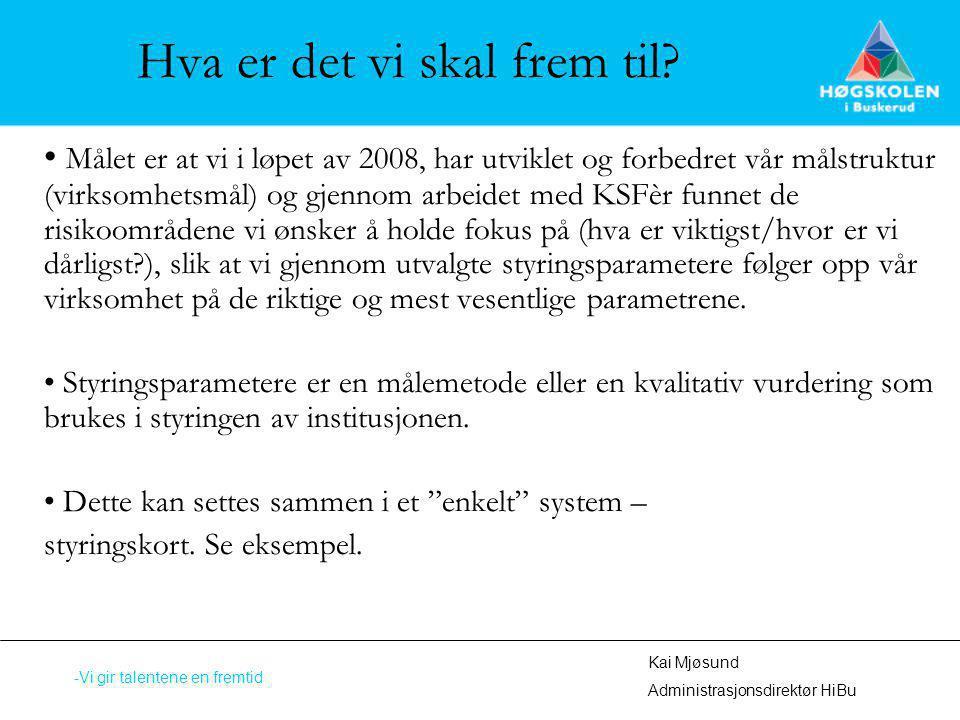 Hva er det vi skal frem til? Målet er at vi i løpet av 2008, har utviklet og forbedret vår målstruktur (virksomhetsmål) og gjennom arbeidet med KSFèr