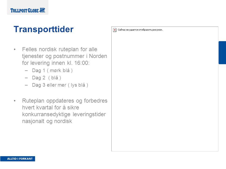 Felles nordisk ruteplan for alle tjenester og postnummer i Norden for levering innen kl.