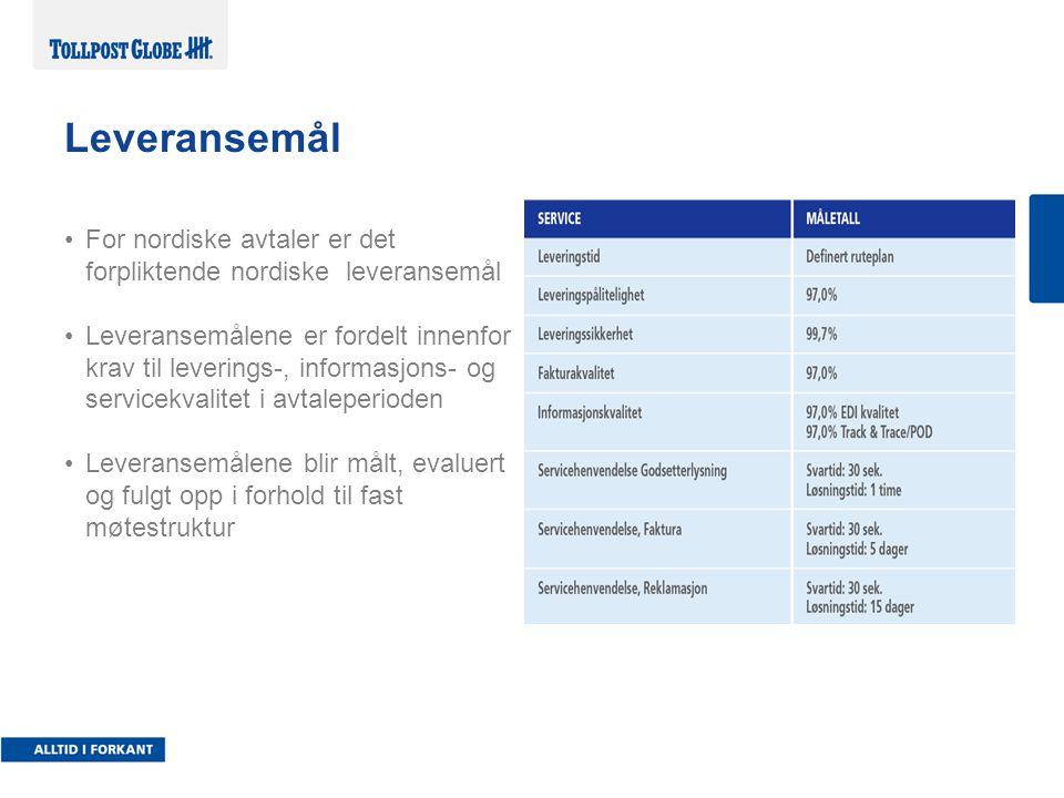 Leveransemål For nordiske avtaler er det forpliktende nordiske leveransemål Leveransemålene er fordelt innenfor krav til leverings-, informasjons- og servicekvalitet i avtaleperioden Leveransemålene blir målt, evaluert og fulgt opp i forhold til fast møtestruktur