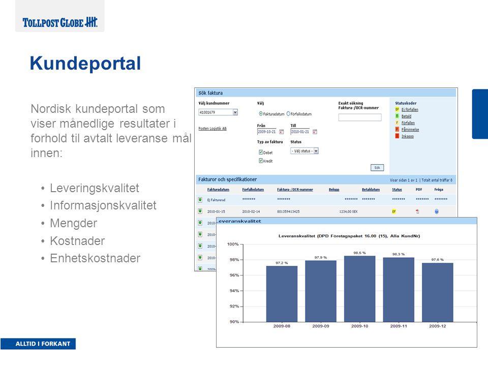 Nordisk kundeportal som viser månedlige resultater i forhold til avtalt leveranse mål innen: Leveringskvalitet Informasjonskvalitet Mengder Kostnader Enhetskostnader Kundeportal