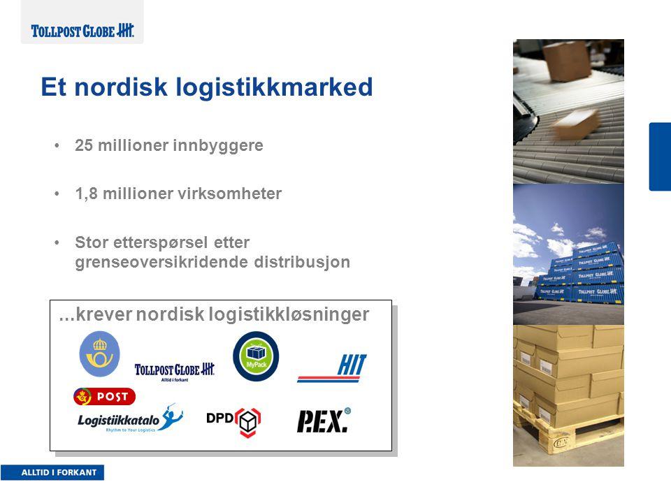 25 millioner innbyggere 1,8 millioner virksomheter Stor etterspørsel etter grenseoversikridende distribusjon...krever nordisk logistikkløsninger Et nordisk logistikkmarked