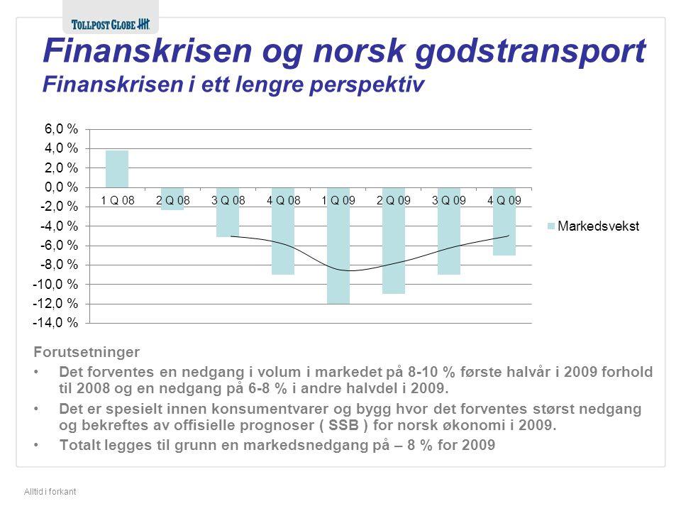 Alltid i forkant Forutsetninger Det forventes en nedgang i volum i markedet på 8-10 % første halvår i 2009 forhold til 2008 og en nedgang på 6-8 % i andre halvdel i 2009.