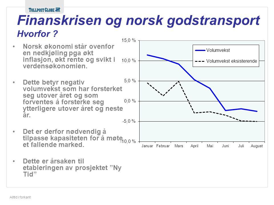 Alltid i forkant Kilde SSB 25. nov 2008 Finanskrisen og norsk godstransport Redusert forbruk