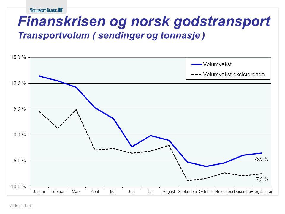 Alltid i forkant Finanskrisen og norsk godstransport Transportvolum ( sendinger og tonnasje )