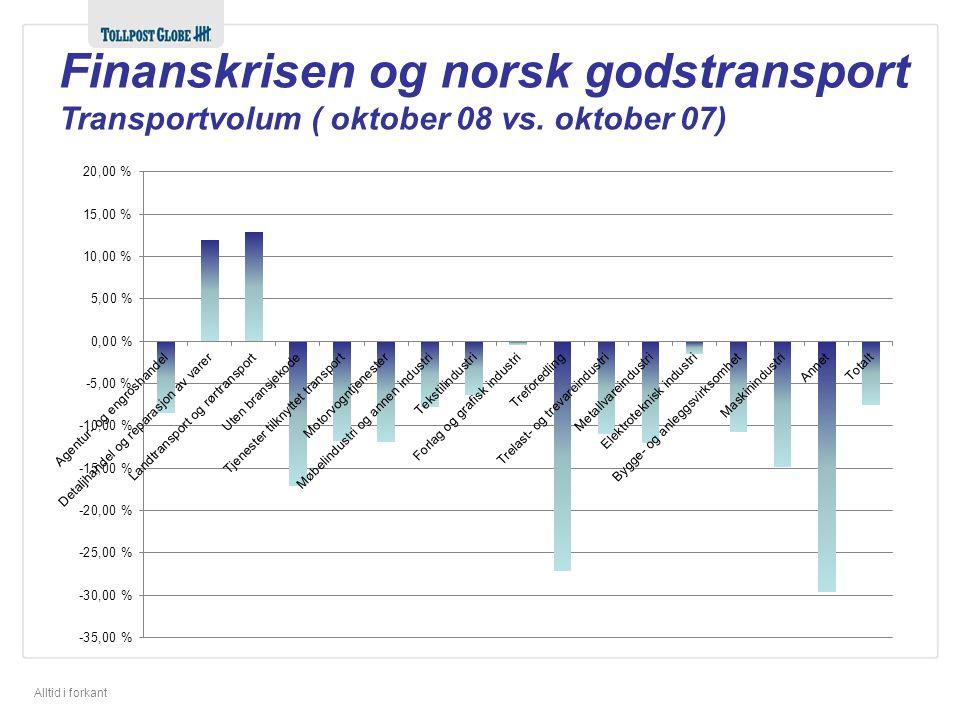 Alltid i forkant Finanskrisen og norsk godstransport Transportvolum ( oktober 08 vs. oktober 07)