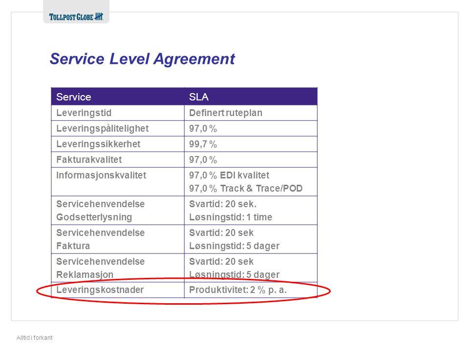 Alltid i forkant ServiceSLA LeveringstidDefinert ruteplan Leveringspålitelighet97,0 % Leveringssikkerhet99,7 % Fakturakvalitet97,0 % Informasjonskvalitet97,0 % EDI kvalitet 97,0 % Track & Trace/POD Servicehenvendelse Godsetterlysning Svartid: 20 sek.