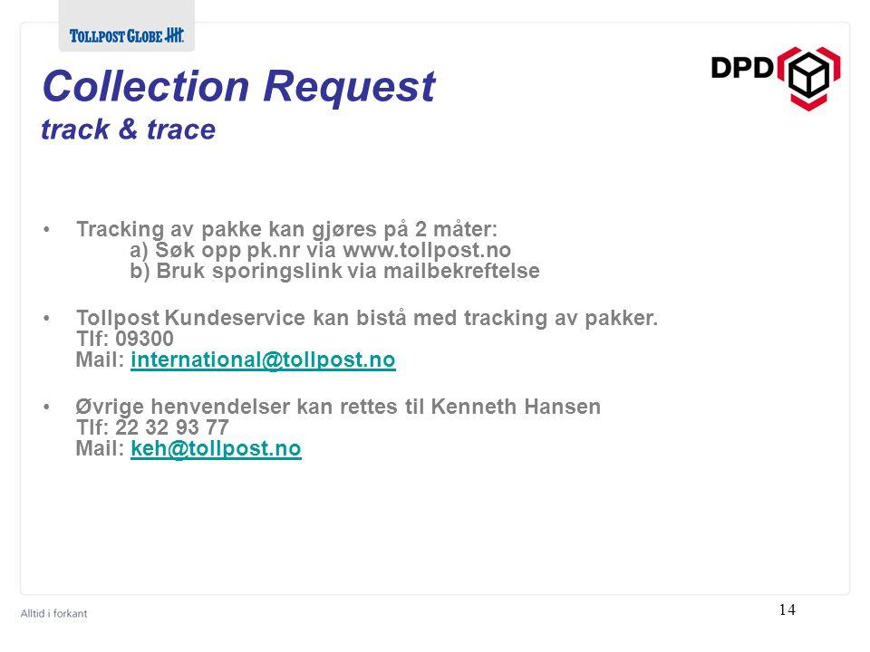 Collection Request track & trace Tracking av pakke kan gjøres på 2 måter: a) Søk opp pk.nr via www.tollpost.no b) Bruk sporingslink via mailbekreftelse Tollpost Kundeservice kan bistå med tracking av pakker.