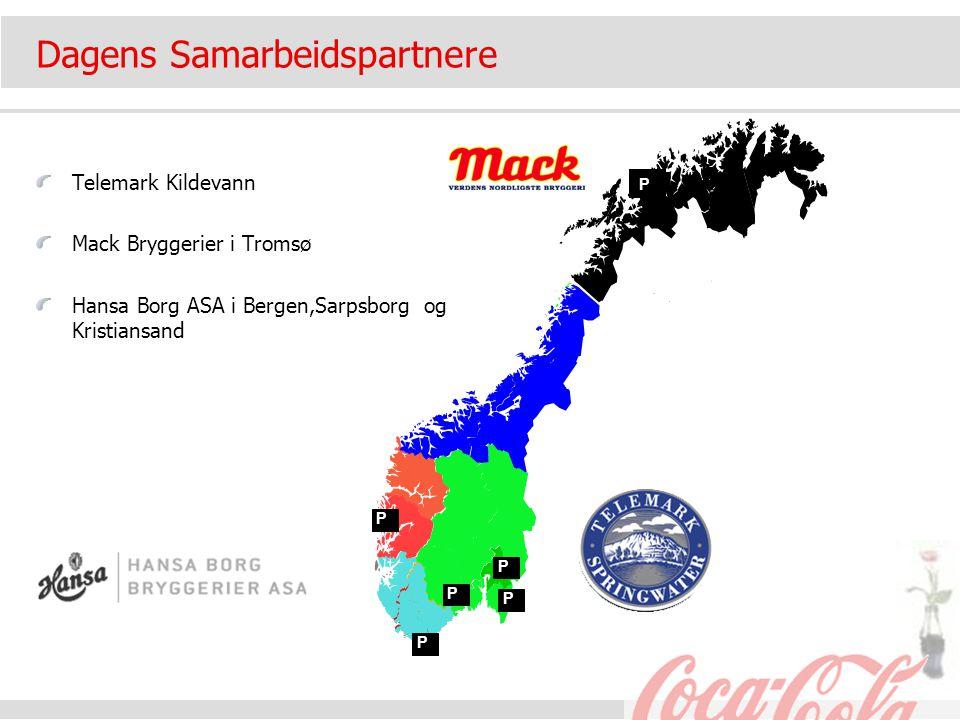 Dagens Samarbeidspartnere Telemark Kildevann Mack Bryggerier i Tromsø Hansa Borg ASA i Bergen,Sarpsborg og Kristiansand