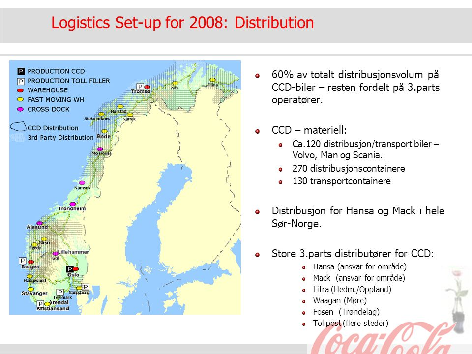 Logistics Set-up for 2008: Distribution 60% av totalt distribusjonsvolum på CCD-biler – resten fordelt på 3.parts operatører. CCD – materiell: Ca.120
