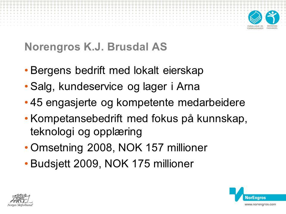 Norengros K.J. Brusdal AS Bergens bedrift med lokalt eierskap Salg, kundeservice og lager i Arna 45 engasjerte og kompetente medarbeidere Kompetansebe