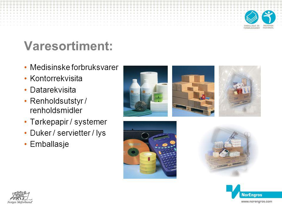 Varesortiment: Medisinske forbruksvarer Kontorrekvisita Datarekvisita Renholdsutstyr / renholdsmidler Tørkepapir / systemer Duker / servietter / lys E