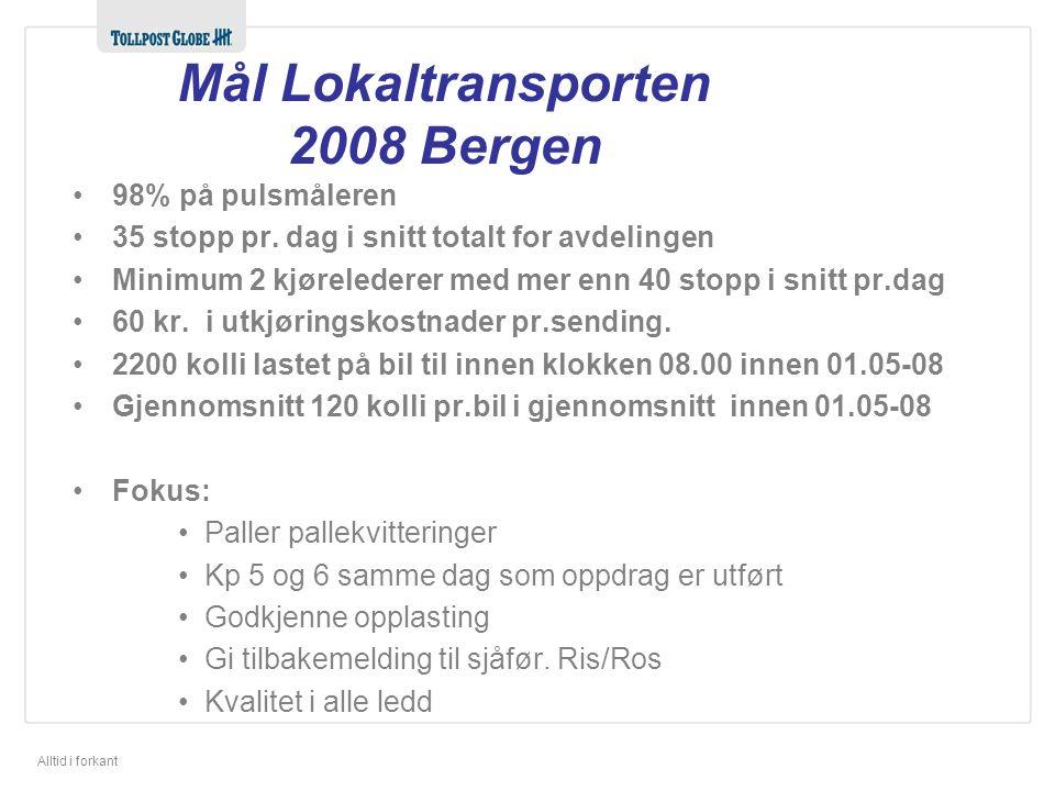 Alltid i forkant Mål Lokaltransporten 2008 Bergen 98% på pulsmåleren 35 stopp pr.