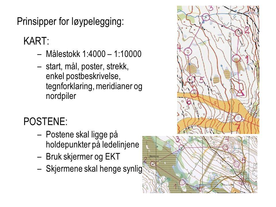 Prinsipper for løypelegging: KART: –Målestokk 1:4000 – 1:10000 –start, mål, poster, strekk, enkel postbeskrivelse, tegnforklaring, meridianer og nordp