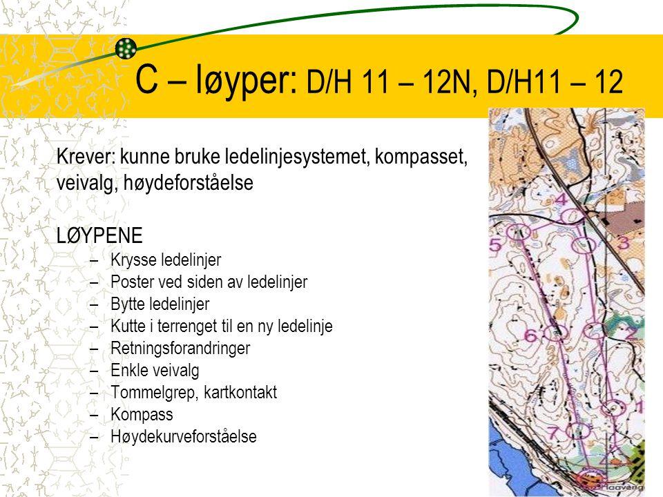 C – løyper: D/H 11 – 12N, D/H11 – 12 Krever: kunne bruke ledelinjesystemet, kompasset, veivalg, høydeforståelse LØYPENE –Krysse ledelinjer –Poster ved