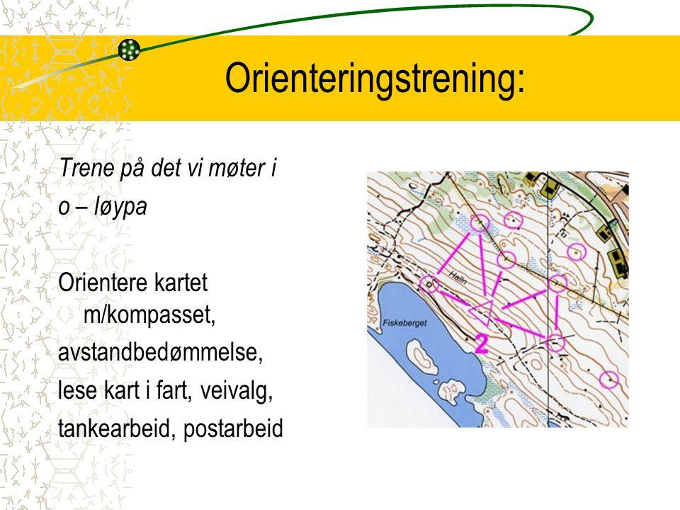 Orienteringstrening: Trene på det vi møter i o – løypa Orientere kartet m/kompasset, avstandbedømmelse, lese kart i fart, veivalg, tankearbeid, postar