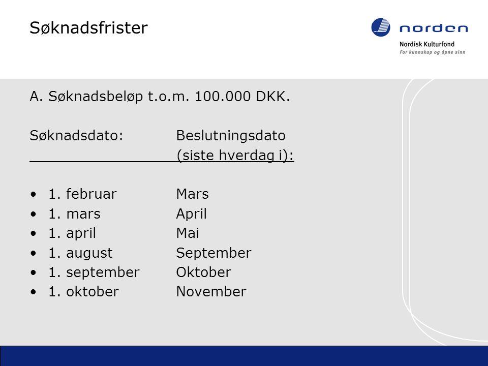 Søknadsfrister A. Søknadsbeløp t.o.m. 100.000 DKK.
