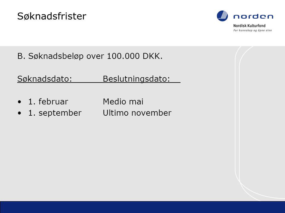 Søknadsfrister B. Søknadsbeløp over 100.000 DKK. Søknadsdato:Beslutningsdato:__ 1.