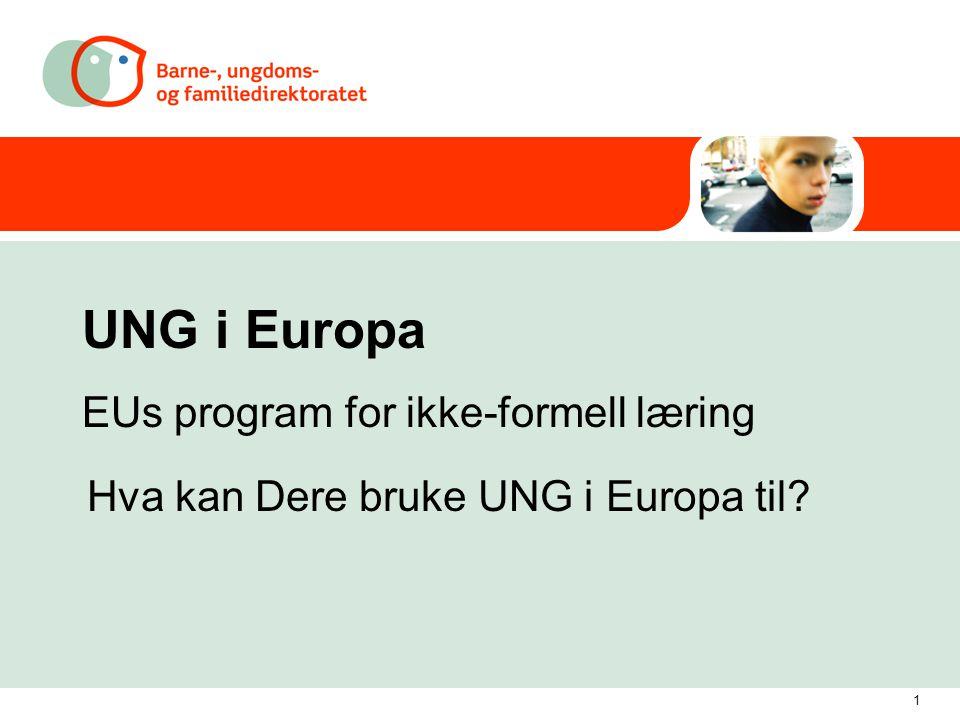1 UNG i Europa EUs program for ikke-formell læring Hva kan Dere bruke UNG i Europa til
