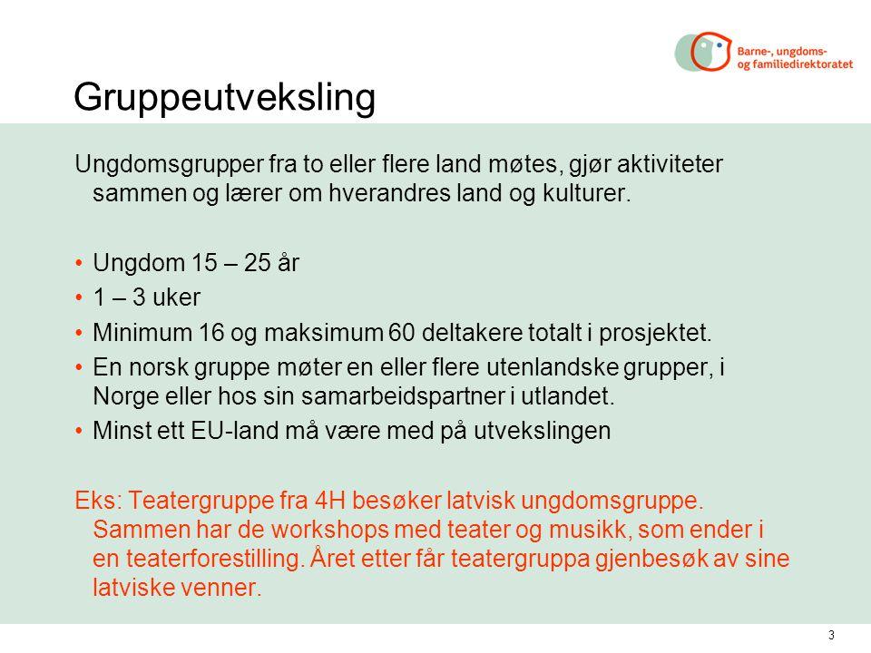 4 Frivillig arbeid i Europa Ungdom 18 – 25 år Varighet 6 – 12 måneder Bidra med din arbeidsinnsats i lokale prosjekter Du får dekket reise, opphold, språkopplæring, lommepenger a) Norsk ungdom kan reise ut som volontør til et annet land i Europa, med en norsk senderorganisasjon i ryggen.