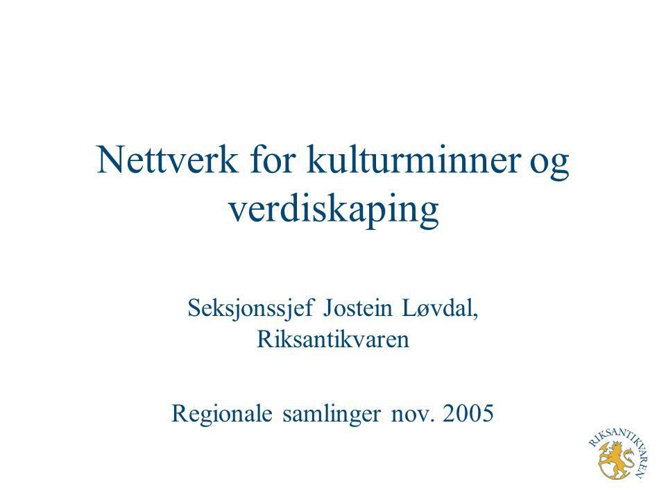Nettverk for kulturminner og verdiskaping Seksjonssjef Jostein Løvdal, Riksantikvaren Regionale samlinger nov. 2005