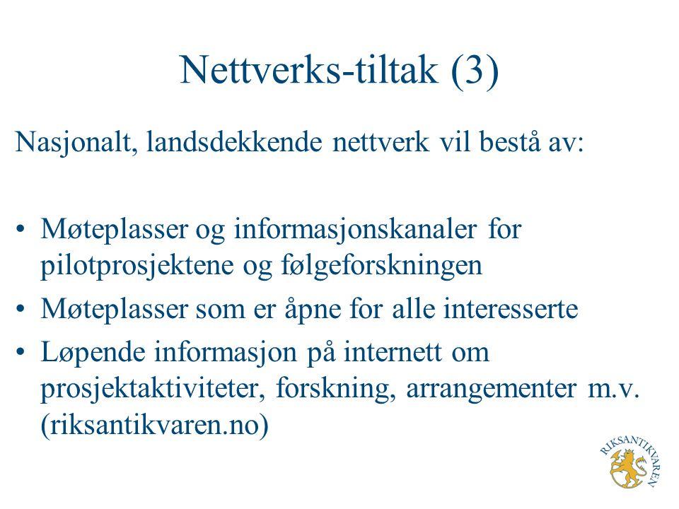 Nettverks-tiltak (3) Nasjonalt, landsdekkende nettverk vil bestå av: Møteplasser og informasjonskanaler for pilotprosjektene og følgeforskningen Møtep