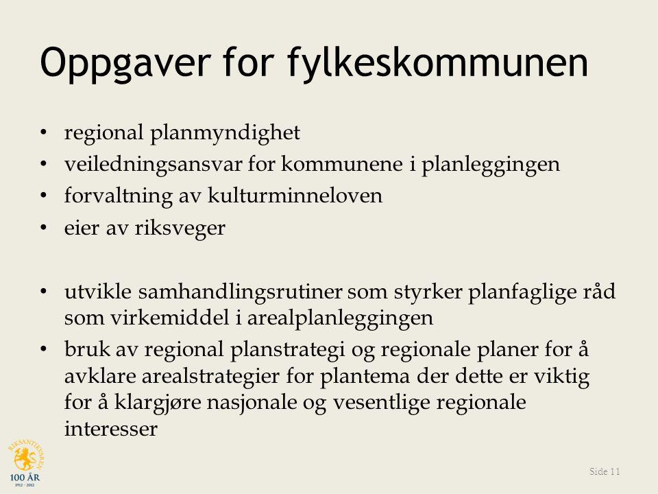Oppgaver for fylkeskommunen regional planmyndighet veiledningsansvar for kommunene i planleggingen forvaltning av kulturminneloven eier av riksveger u