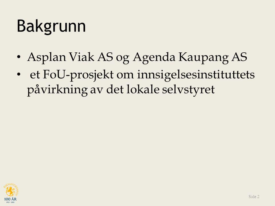 Bakgrunn Asplan Viak AS og Agenda Kaupang AS et FoU-prosjekt om innsigelsesinstituttets påvirkning av det lokale selvstyret Side 2