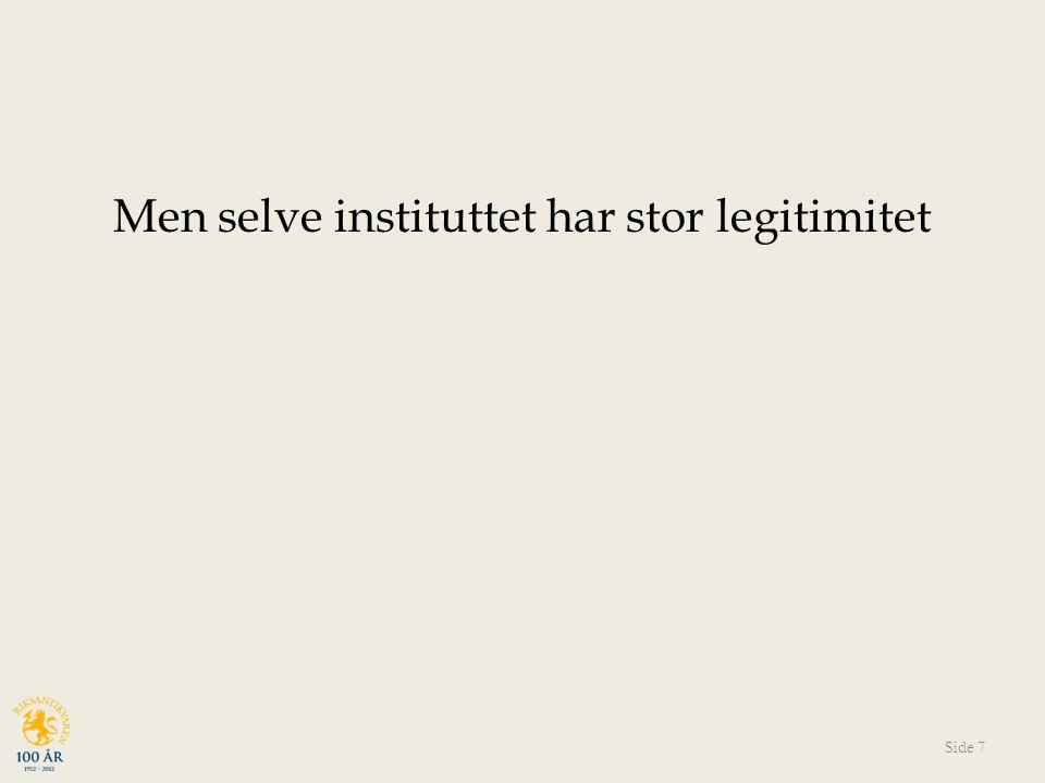 Men selve instituttet har stor legitimitet Side 7