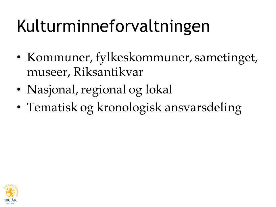 Kulturminneforvaltningen Kommuner, fylkeskommuner, sametinget, museer, Riksantikvar Nasjonal, regional og lokal Tematisk og kronologisk ansvarsdeling