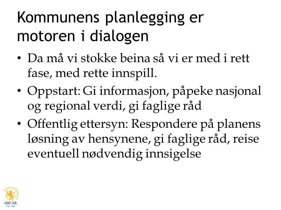 Kommunens planlegging er motoren i dialogen Da må vi stokke beina så vi er med i rett fase, med rette innspill. Oppstart: Gi informasjon, påpeke nasjo