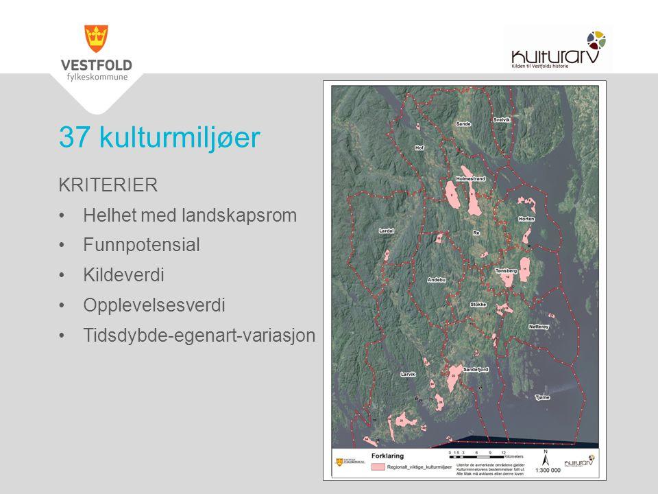 37 kulturmiljøer KRITERIER Helhet med landskapsrom Funnpotensial Kildeverdi Opplevelsesverdi Tidsdybde-egenart-variasjon