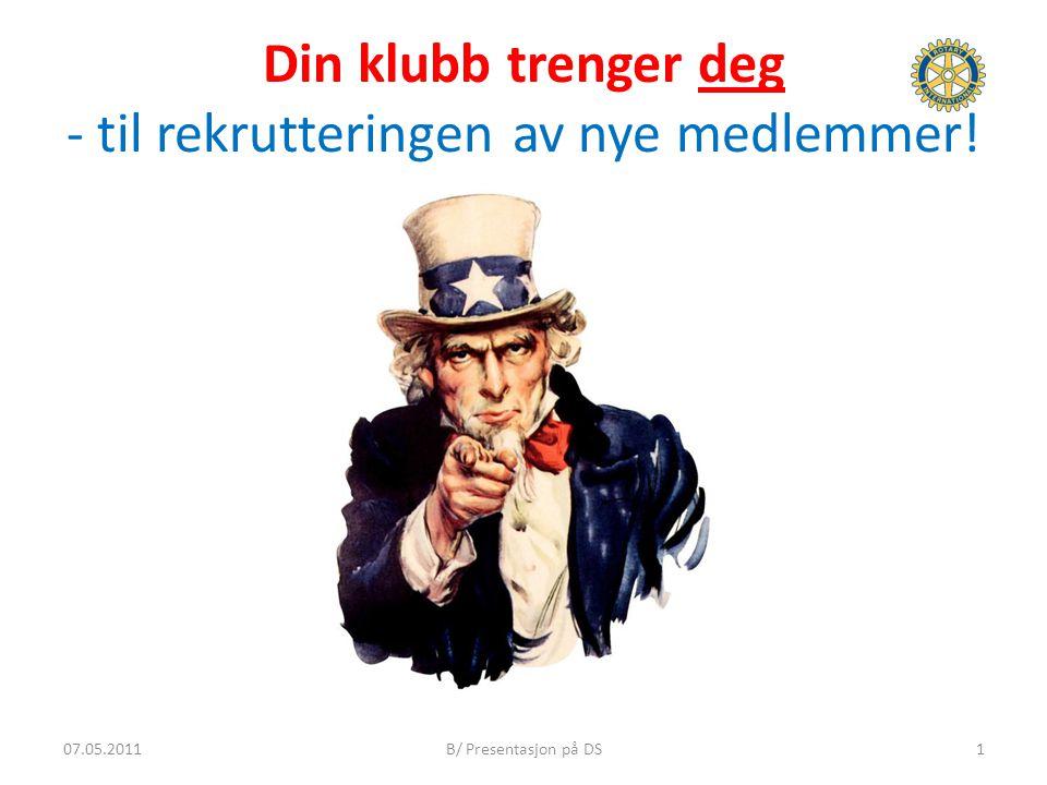 Din klubb trenger deg - til rekrutteringen av nye medlemmer! 107.05.2011B/ Presentasjon på DS