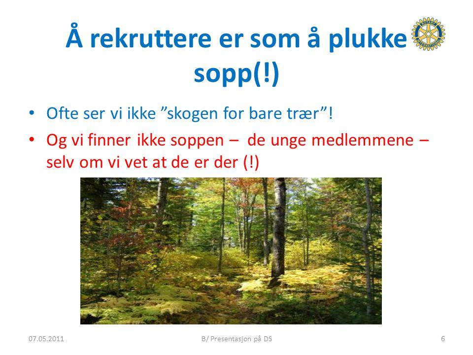 """Å rekruttere er som å plukke sopp(!) Ofte ser vi ikke """"skogen for bare trær""""! Og vi finner ikke soppen – de unge medlemmene – selv om vi vet at de er"""