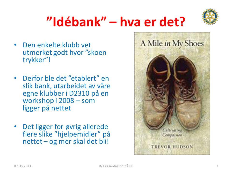 """""""Idébank"""" – hva er det? Den enkelte klubb vet utmerket godt hvor """"skoen trykker""""! Derfor ble det """"etablert"""" en slik bank, utarbeidet av våre egne klub"""