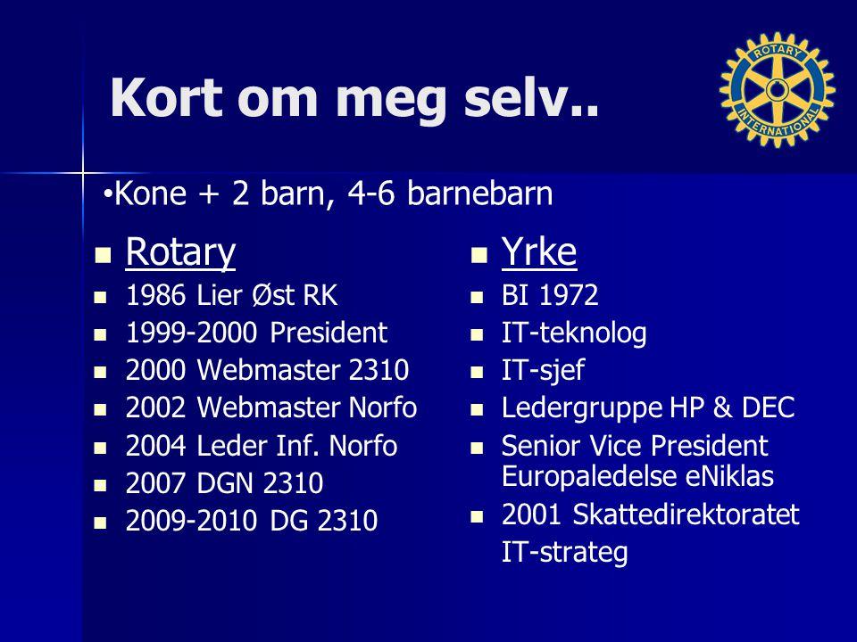 Kort om meg selv.. Rotary 1986 Lier Øst RK 1999-2000 President 2000 Webmaster 2310 2002 Webmaster Norfo 2004 Leder Inf. Norfo 2007 DGN 2310 2009-2010