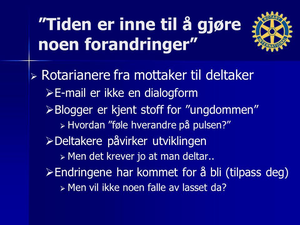 """""""Tiden er inne til å gjøre noen forandringer""""   Rotarianere fra mottaker til deltaker   E-mail er ikke en dialogform   Blogger er kjent stoff fo"""